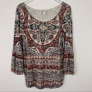 Lucky Brand peasant blouse scoop neck sz M